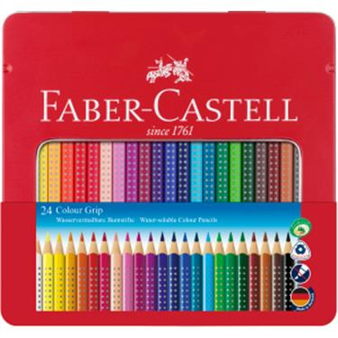 Faber-Castell Farbstift Colour GRIP, 24 Farben im Metalletui