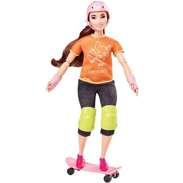 Barbie Olympic Games Tokyo 2020 Skateboarder-Puppe mit Outfit