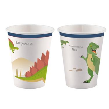 amscan Papierbecher Happy Dinosaurier, 250 ml, 8 Stk.