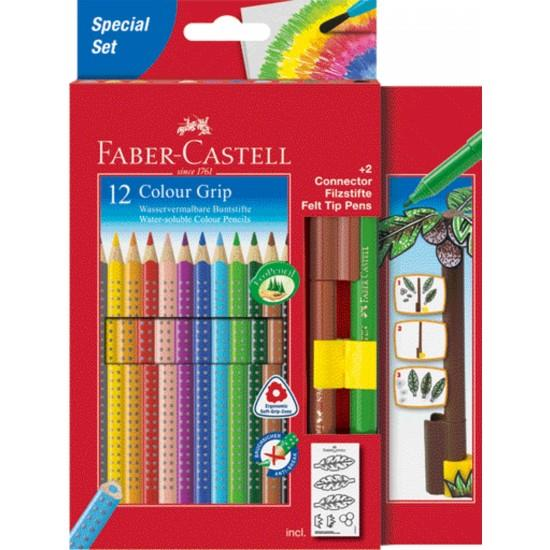 faber castell buntstift colour grip 12 farbstifte 2 connector pen duo. Black Bedroom Furniture Sets. Home Design Ideas