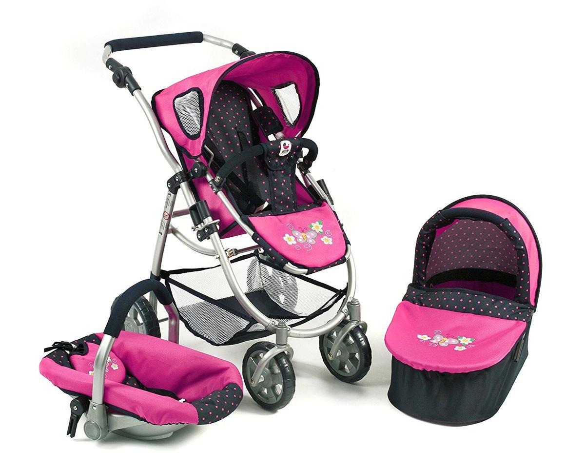 Bayer Chic 3in1 Kombi Puppenwagen EMOTION ALL IN, Dots Navy-Pink