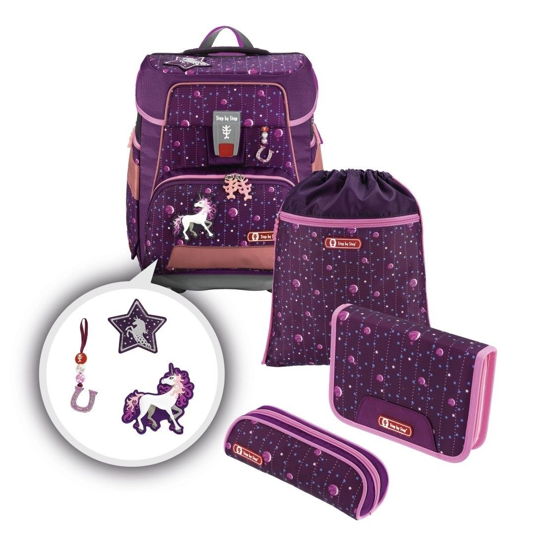 Step by Step Schulranzenset e-SPACE Dreamy Unicorn, 5-teilig