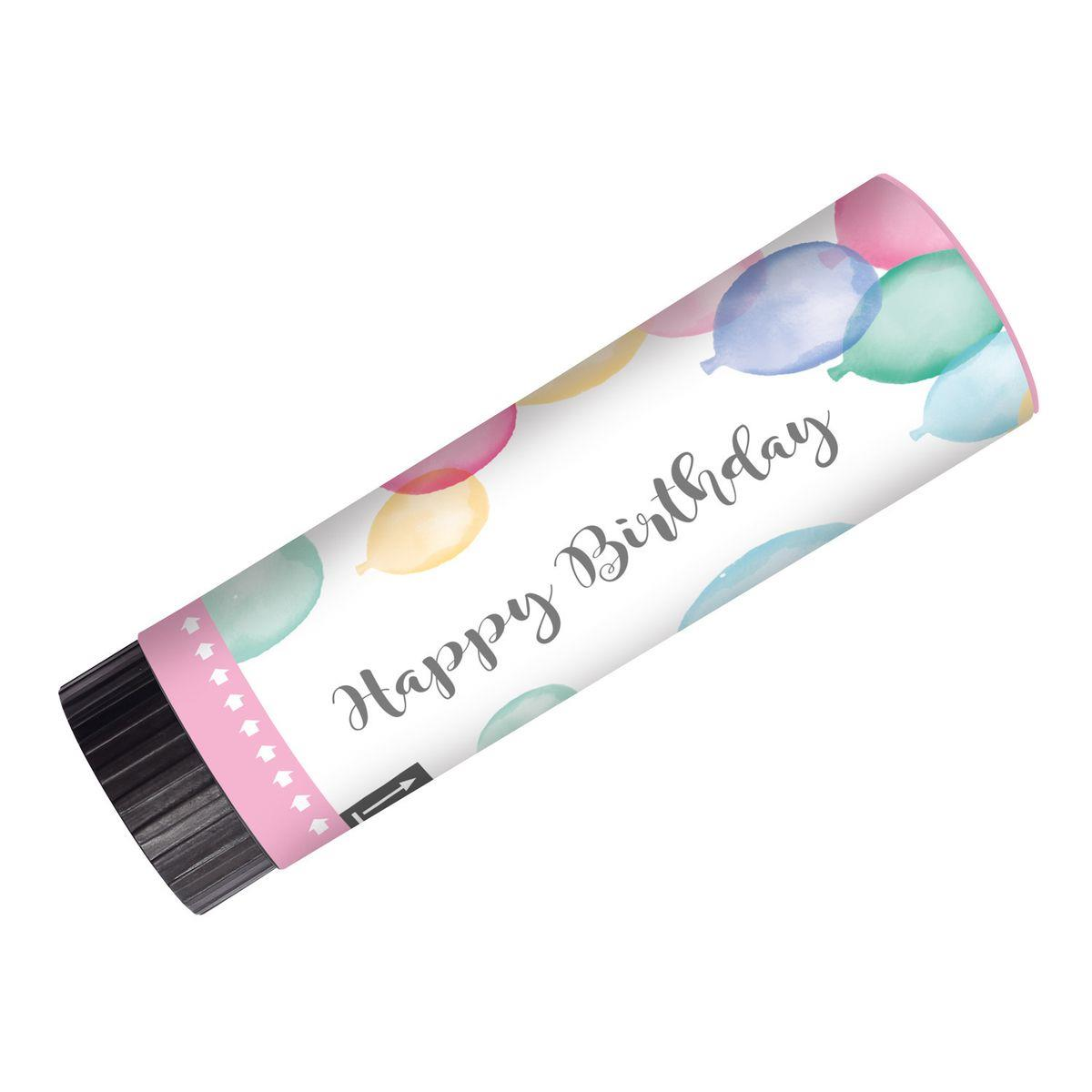 amscan 2 Konfettikanonen Happy Birthday Pastel