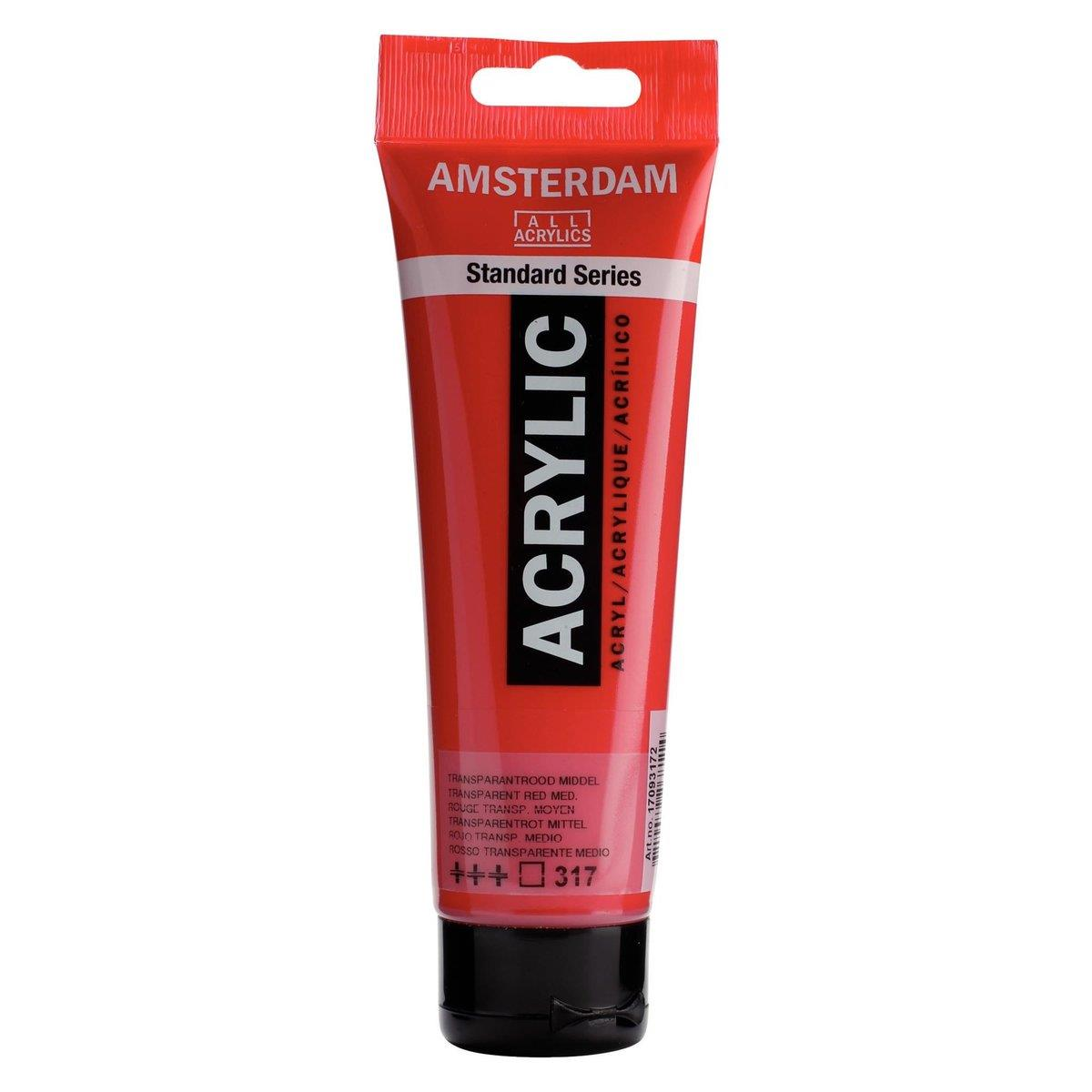 Royal Talens Amsterdam Standard Series Acrylfarbe Transparentrot Mittel 317, 120ml