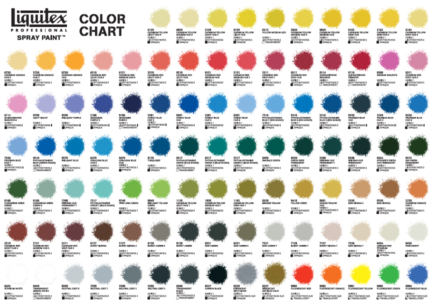 Posca Paint Pens Colour Chart
