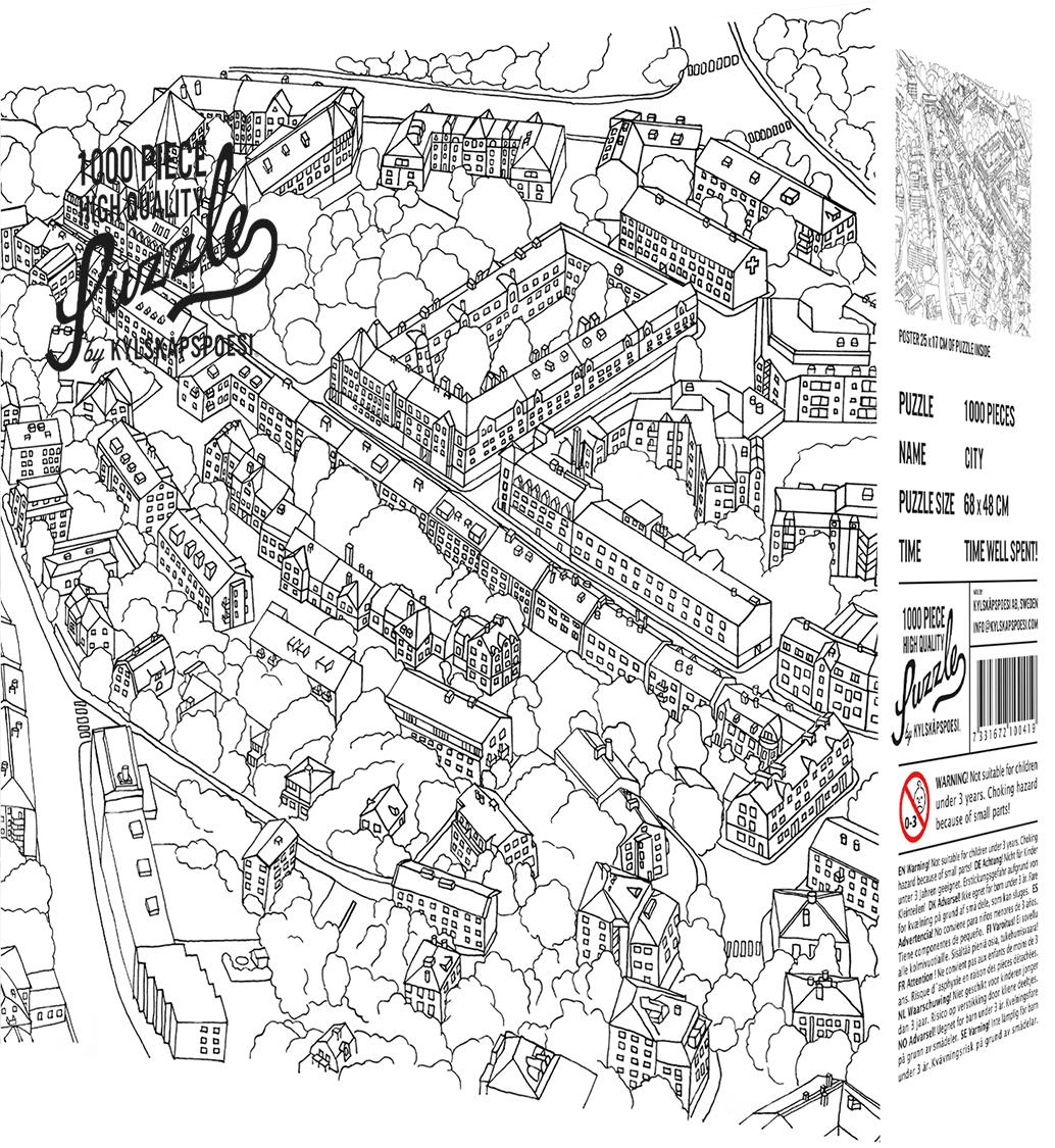 Kylskapspoesi Puzzle High Quality City Sketch, 1000 Teile